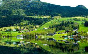 Geiranger fjord norvigia prasino topio